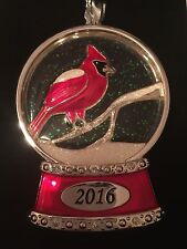 Harvey Lewis Christmas 2016 Cardinal Snowglobe Ornament Bird Swarovski Crystals
