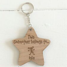 """Personalised Star Keyring """"THIS GODMOTHER BELONGS TO """"  Wooden Gift"""