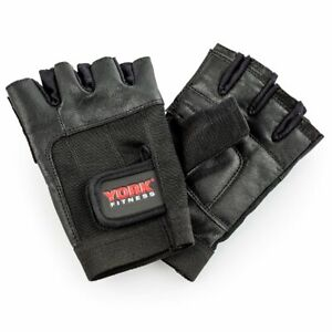 York Fitness Weight Lifting Gloves Leather Gym Bodybuilding Workout Training