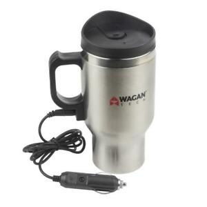 Wagan Tech 6100 12-Volt Deluxe Double-Wall Stainless Steel Heated Travel Mug