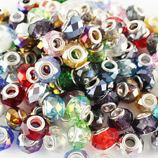 Wholesale 14mm Faceted Crystal Glass Finding Charm Beads Fit European Bracelets