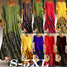 Womens Maxi Beach Dress Long Sleeve Casual Boho Kaftan Tunic Gypsy Ethnic