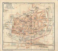 Carta geografica antica LUCCA Pianta della città TCI 1916 Old antique map