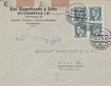 1938 Czechoslovakia #227 (block of 4) on Reichenberg 3(Liberec3) censored cov *d