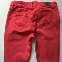 Ladies Superdry Super Skinny Coral Pink Jeans W30 L32 Size 10 (684a)