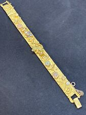 Vintage Bracelet SIGNED KIRKS FOLLY Rhinestone Gold tone Jewelry Dragonfly Bee