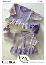 """UKHKA double knitting pattern 74 Frill sweater  + cardigan  30.5-61cm 12-24"""""""