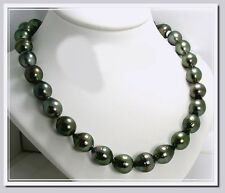 """11X12MM - 12.8X15MM Gray/Green Tahitian Pearl Necklace 14K Clasp 17.5"""" NEW"""