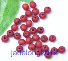 Wholesale 100pcs Red Stripe Round Wood Beads 8MM NH787