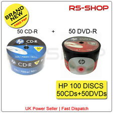 100 Hp Hewlett Packard Discos 50 Cd-r 700mb/52x/80min +50 Dvd-r 4.7 gb/16x/120min