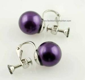 1 Pair Silver Clip On Screw Back Faux Pearl Round Stud Earrings White Off White