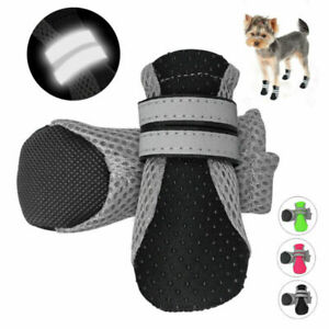 4pcs Waterproof Dog Shoes Reflective Mesh Boots Booties Anti-slip for Snow Rain