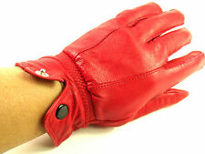 Ladies Super Soft Real Leather Fully Lined Gloves Various Colours Winter Red L