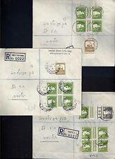 PALESTINE 1940s THREE REGISTERED COVERS NATHANYA HAIFAI NESTSIYONA ALL W/ GUTTER