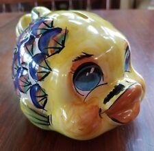 Vietri Fish Bank Pottery G Mass Mino Yellow Mustache Blue