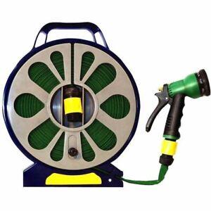 Garden 50ft Flat Hose Pipe Nozzle Spray Gun Easy Gardening