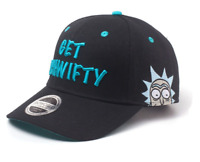 Rick And Morty Embroidered Get Schwifty Curved Bill Cap Black/Turquoise Ba0052