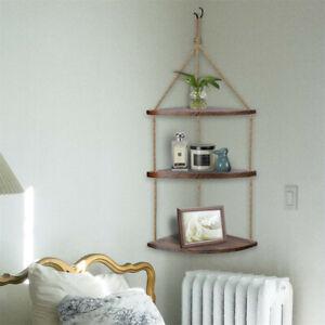 3 Tier Floating Corner Shelf Wood Rope Swing Shelves Storage Display Holder Deco