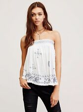 126486 $108 Free People You Got It Bad Embroidered Smocked Tube Blouse Top S US