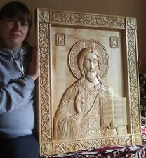 Icon God Almighty. Carved Wooden Picture. Orthodox(Christian). Large size 40""