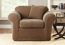 Stretch Stripe 2 Piece Chair Slipcover Box Cushion in Brown