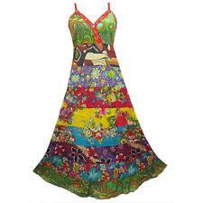Peasant Boho Hippie Tier Patchwork Spaghetti Strap Long Dress  Y0077