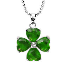 Melina Jewelry Heart Cut Green Emerald White Gold Plated Gp Pendant Necklace