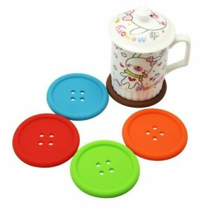 5x Button Coasters Silicone Non Slip Cup Colourful Place Mats Drinks Cute UK