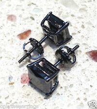 3.25 CTW Black Lab Diamond Mens & Ladies Screw Back Square Stud Earrings 10mm