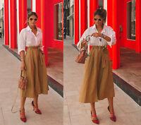 c31f9021c5 Zara SS18 Linen Blend Voluminous Midi Skirt With Pocket Bow Detail Belt S M  L