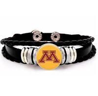 University Minnesota Golden Gophers Mens Womens Black Leather Bracelet wGift D14