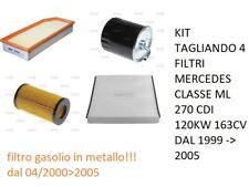 KIT TAGLIANDO 4 FILTRI MERCEDES CLASSE ML 270 CDI 120KW 163CV DAL 1999 -> 2005