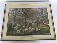 """SIGNED TS LAFONTAINE FOX HUNT LITHOGRAPH FRAMED ART HORSE PRINT 32"""" X 24"""""""