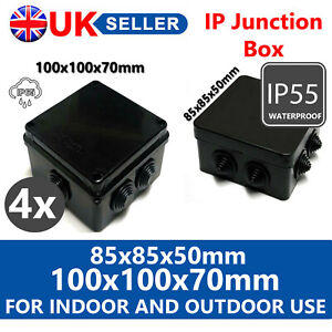 4X WATERPROOF JUNCTION BOX ENCLOSURE IP65 BLACK FOR OUTDOOR ELECTRIC PROTECTION