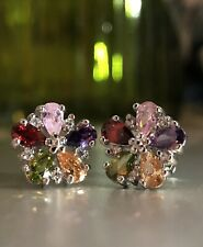 14k White Gold GP Small Flower Stud Earrings made w Swarovski Crystal Multicolor