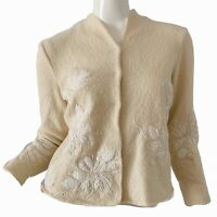 Vintage 60s Beaded Embroidered Mod Flower Ivory Wool Cardigan Sweater XS