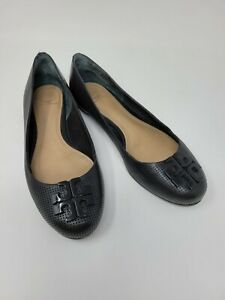 Tory Burch Perforated Leather Black Flats Size 6