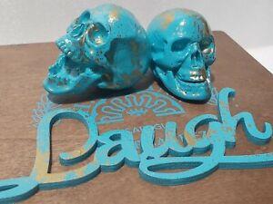 Aqua Blue Laugh Skull Theme Trinket Jewelry Storage Box
