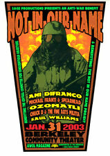 Not In Our Name Anti Iraq War Ani DiFranco Michael Franti 2003 Poster Sperry