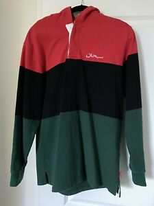 ⚫️ Supreme Arabic Block Striped Hooded Rugby Size L GUCCI LOOK 🔴