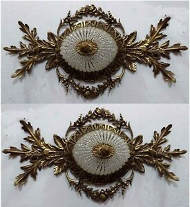 2 Hand Beaded Antique Replica Crystal Bronze European Flush Mount Chandeliers