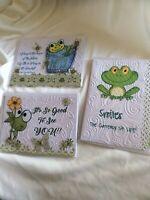 3 Handmade Cards + Envelopes Frogs Happy Birthday Smile Boy Birth USA Made