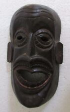 Old Vintage Hand Crafted Wooden Tribal Man Bust Mask Collectible