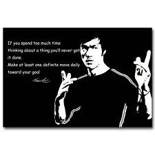 Bruce Lee Kung Fu Póster motivacional cotización de seda 12x18 24x36 pulgadas 011