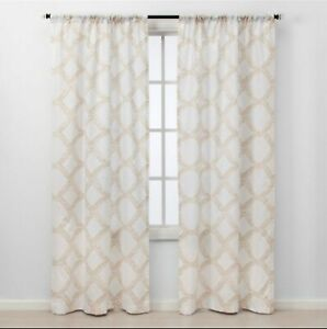 "Threshold 2 Piece Light-Filtering Curtains 84"" x 40 Tan Kana Geometric Pattern"