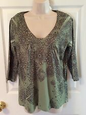 Jane Ashley Women's Size Small 3/4 Sleeve Floral Blouse Top Tunic Polyester