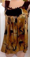 Etro Top Gold And Black Silk Black Velvet Front Inside Silk Corsett Size 42