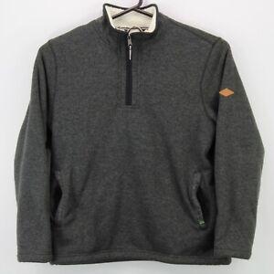 Orvis Men's 1/4 Zip Long Sleeve Sherpa Lined Sweater Size Large Gray Free SH euc