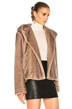 Helmut Lang Faux Mink Fur Hooded Coat Jacket Ecru L