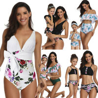 Family Matching Mother Daughter Swimwear Suit One/Two Piece Printed Bikini